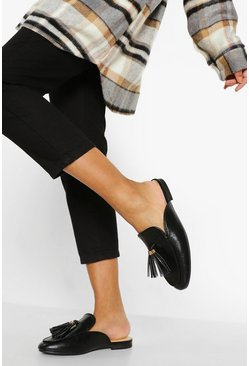 Black Tassel Detail Mule Loafers