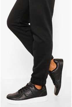 Black Wide Fit Lace Up Flat Trainers