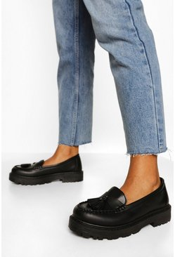 Black Wide Fit Chunky Tassel Loafers