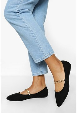 Black Chain Detail Pointed Flats
