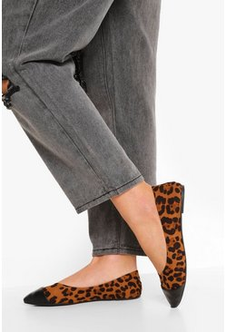 Leopard Pointed Toe Cap Ballet Pumps
