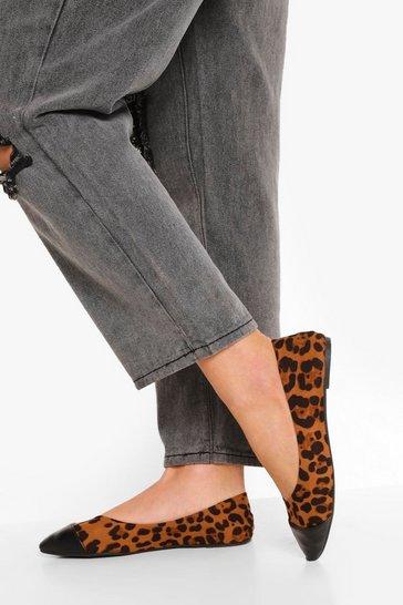 Leopard Pointed Toe Cap Ballet Pumps