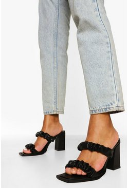 Black Ruched Double Strap Mule