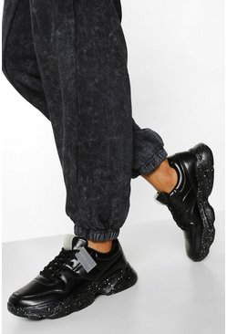 Black Official Speckle Sole Chunky Trainers