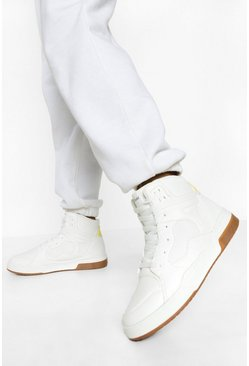 White Woman High Top Flat Trainers