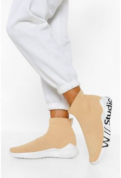 Beige Knitted Chunky Sock Trainers