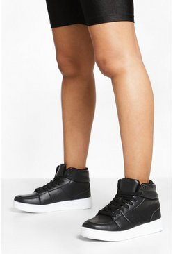 Black Wide Fit High Top Trainers