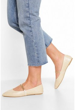 Cream white Croc Chain Detail Pointed Flats