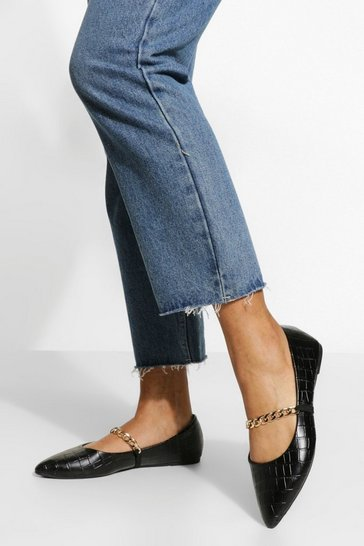 Black Wide Fit Croc Chain Detail Pointed Flats