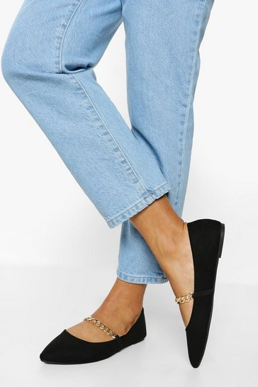 Black Wide Fit Chain Detail Pointed Flats