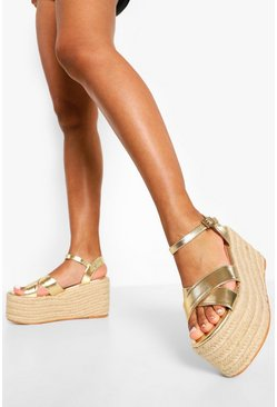 Gold metallic Chunky Crossover Wedge