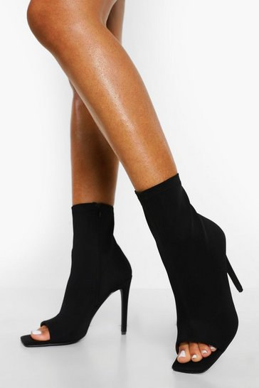 Black Peeptoe Sock Sandal