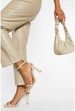 Cream white Croc Skinny Block Heel 2 Part Sandal