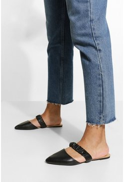 Black Ruched Band Mules