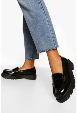 Black Wide Fit Chunky Loafers