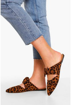 Wide Fit Leopard Bow Detail Mules