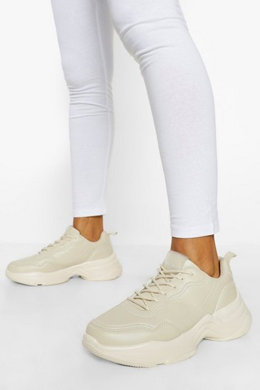 Beige Official Branded Chunky Trainers