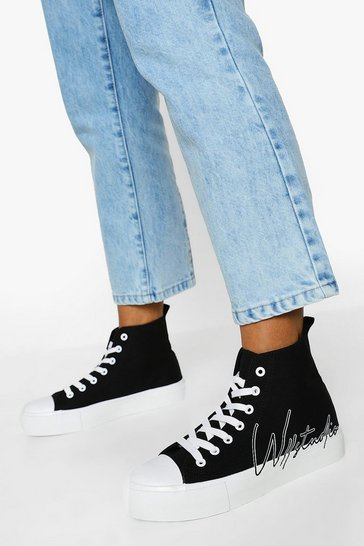 Black Offical Canvas High Top Trainers