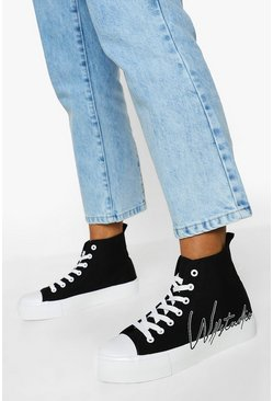 Black Offical Canvas High Top Sneakers