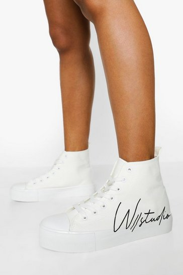 White Offical Canvas High Top Trainers