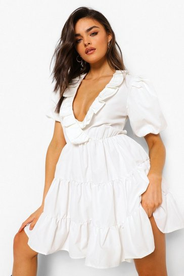 White Ruffle Puff Sleeve Tiered Skater Dress