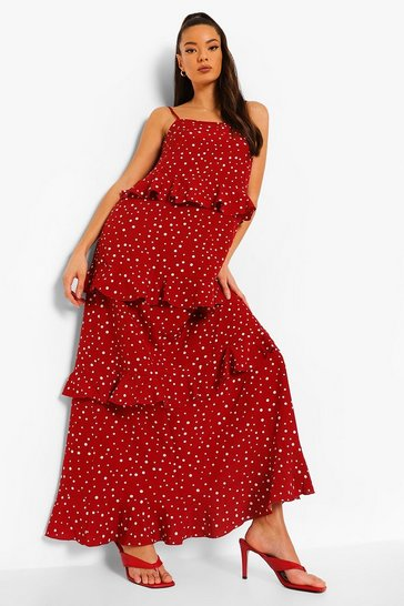 Red Polka Dot Extreme Ruffle Maxi Dress