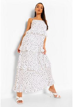 White Polka Dot Extreme Ruffle Maxi Dress