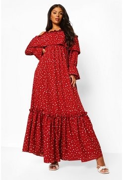 Red Polka Dot Cold Shoulder Ruffle Maxi Dress