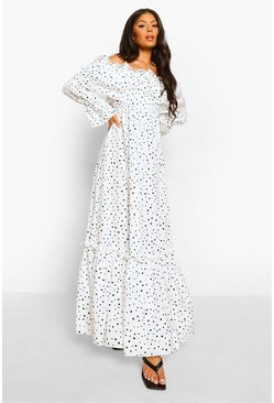 White Polka Dot Cold Shoulder Ruffle Maxi Dress