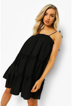 Black Strappy Ruffle Tiered Smock Dress