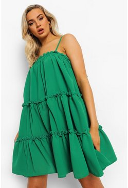 Green Strappy Ruffle Tiered Smock Dress