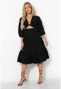 Black Cut Out Tiered Midi Smcck Dress