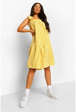 Yellow Gingham Tie Detail Strappy Midi Smock Dress