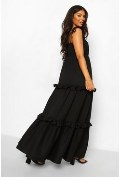 Black Tie Detail Ruffle Maxi Dress