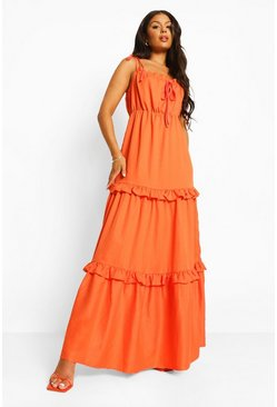 Orange Tie Detail Ruffle Maxi Dress