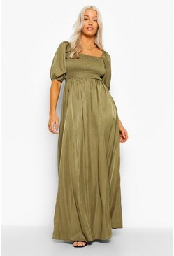 Khaki Shirred Detail 3/4 Sleeve Maxi Dress