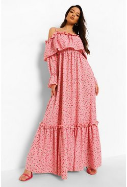 Pink Ruffle Cold Shoulder Maxi Dress