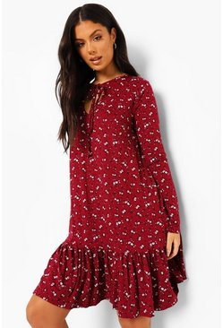 Burgundy red Ditsy Floral Long Sleeve Drop Hem Shift Dress