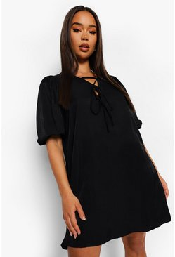 Puff Sleeve Tie Detail Smock Dress, Black negro
