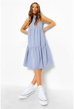 Blue Polka Dot Sleeveless Midi Smock Dress