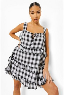 Black Check Print Tiered Swing Dress