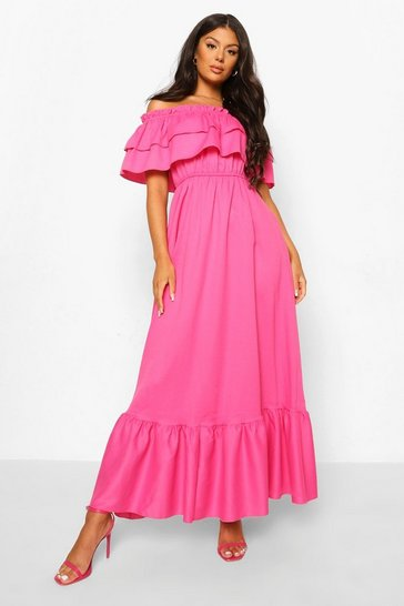Hot pink pink Ruffle Off The Shoulder Maxi Dress