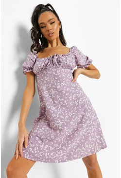 Lilac purple Printed Cup Detail Swing Dress