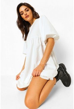 Puff Sleeve Midi Smock Dress, White blanc