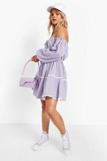 Lilac purple Gingham Puff Sleeve Smock Dress