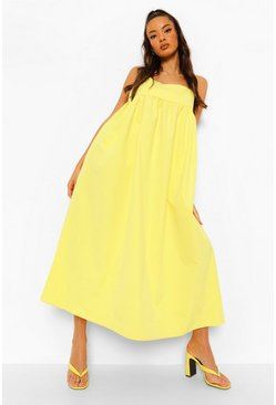 Yellow Strappy Midaxi Smock Dress
