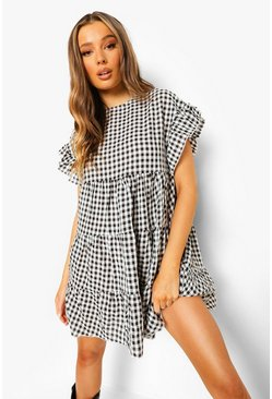 Black Gingham Tiered Smock Dress