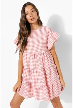 Pink Gingham Tiered Smock Dress