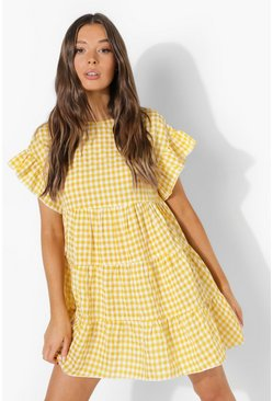 Yellow Gingham Tiered Smock Dress
