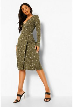 Khaki Ditsy Floral Long Sleeve Midi Smock Dress